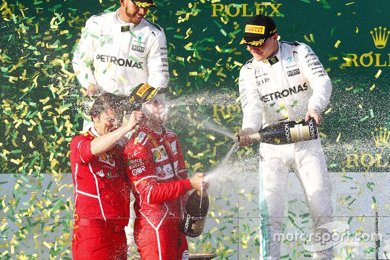 Sebastian Vettel, Ferrari; Lewis Hamilton, Mercedes AMG F1; Valtteri Bottas, Mercedes AMG F1