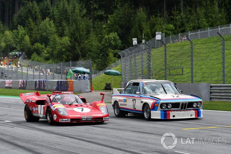 Jean Alesi, Ferrari 512S and Dieter Quester, BMW 3.0 CSL