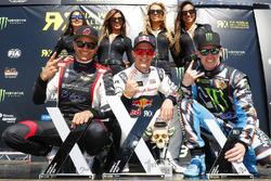 Podium: winner Mattias Ekström, EKS RX, second place Timo Scheider, MJP Racing Team Austria, third place Andreas Bakkerud, Hoonigan Racing Division