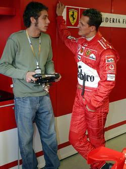 Valentino Rossi with Michael Schumacher, Ferrari