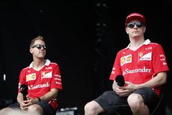 Sebastian Vettel, Ferrari, Kimi Raikkonen, Ferrari, on the F1 stage