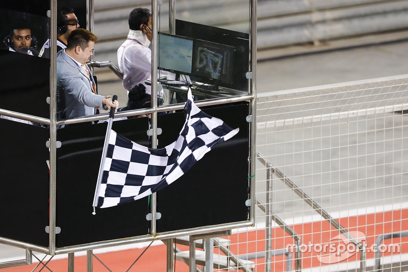 The chequered flag is waved at the end of the race