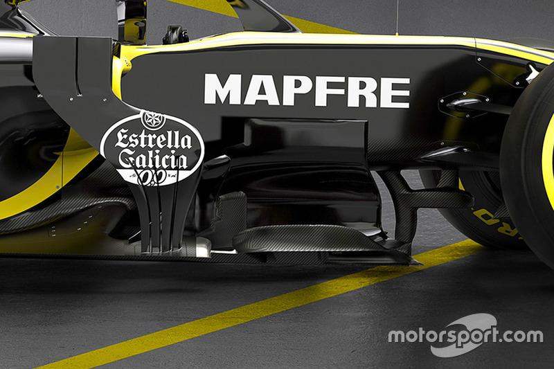 Renault F1 Team RS18, dettaglio del bargeboard
