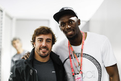 Fernando Alonso, McLaren, with Usain Bolt