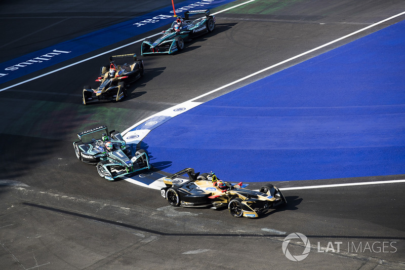 Jean-Eric Vergne, Techeetah, Nelson Piquet Jr., Jaguar Racing,Andre Lotterer, Techeetah, Mitch Evans, Jaguar Racing