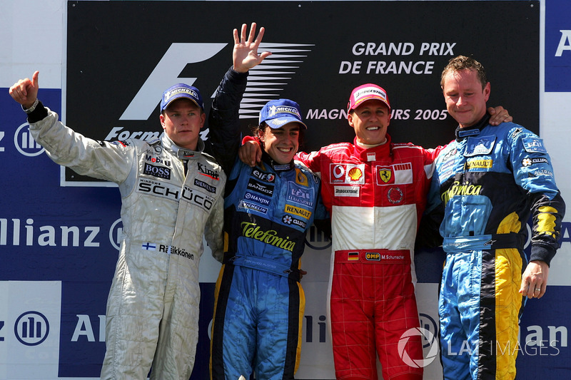 2005: 1. Фернандо Алонсо, 2. Кими Райкконен, 3. Михаэль Шумахер