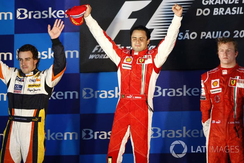 2008 : 1. Felipe Massa, 2. Fernando Alonso, 3. Kimi Räikkönen
