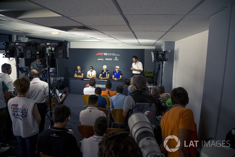 (L to R): Romain Grosjean, Haas F1, Fernando Alonso, McLaren, Esteban Ocon, Force India F1 amd Pierre Gasly, Scuderia Toro Rosso in the Press Conference