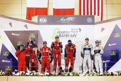 Podio LMGTE Pro: al primo posto Davide Rigon, Sam Bird, AF Corse, al secondo posto James Calado, Alessandro Pier Guidi, AF Corse, al terzo posto Andy Priaulx, Harry Tincknell,  Ford Chip Ganassi Team UK
