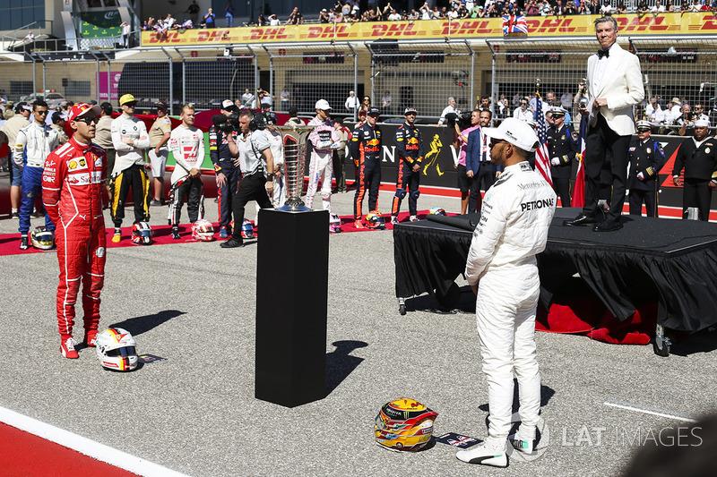 Michael Buffer presenta a Lewis Hamilton, Mercedes AMG F1, Sebastian Vettel, Ferrari