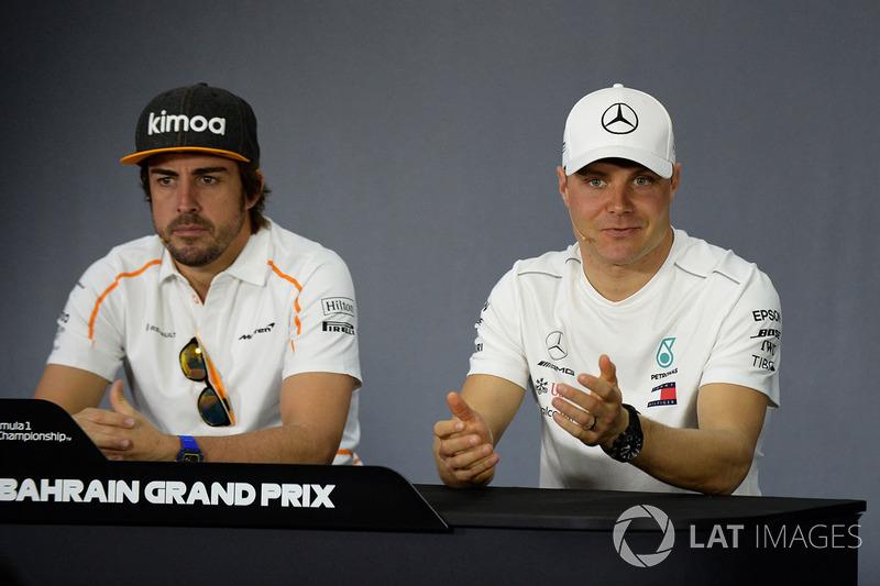 Fernando Alonso, McLaren and Valtteri Bottas, Mercedes-AMG F1 in the Press Conference