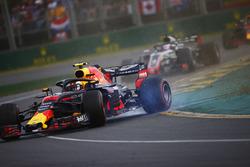 Max Verstappen, Red Bull Racing RB14 Tag Heuer, spins in the path of Romain Grosjean, Haas F1 Team VF-18 Ferrari