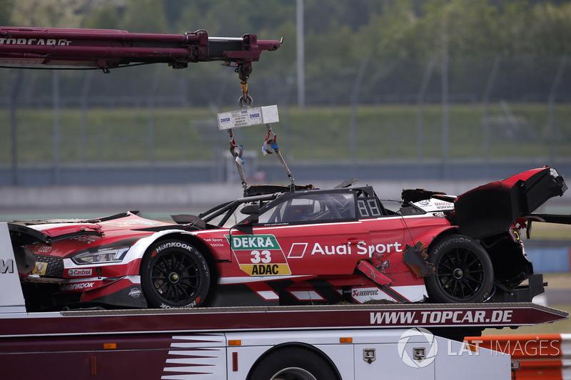 El coche de René Rast, Audi Sport Team Rosberg después del accidente