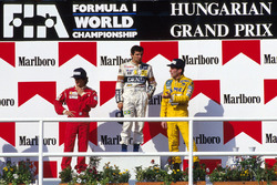 Podio: Nelson Piquet,Williams, Alain Prost, McLaren y third place Ayrton Senna, Lotus