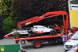 The crashed car of race retiree Romain Grosjean, Haas F1 Team VF-18