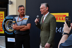 Sean Bratches, Formula One Managing Director, Commercial Operations, Mario Isola, Pirelli Sporting Director at the Pirelli 2018 launch