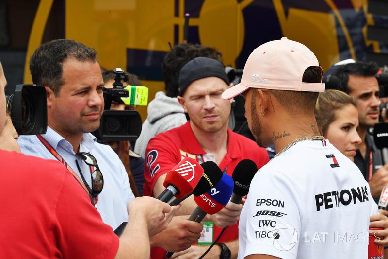 Lewis Hamilton, Mercedes-AMG F1 talks with Ted Kravitz, Sky TV