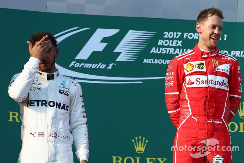 Podio: Sebastian Vettel, Ferrari, Lewis Hamilton, Mercedes AMG F1