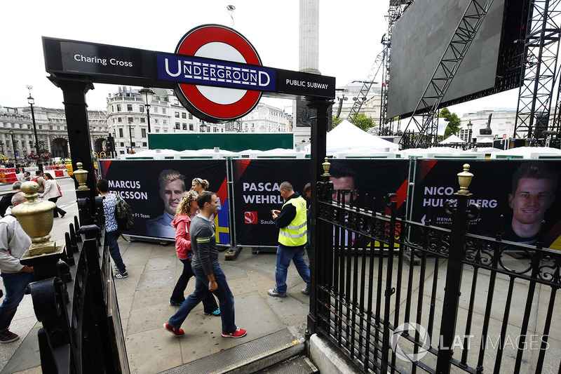 Banners for Marcus Ericsson, Sauber, Pascal Wehrlein, Sauber, Nico Hulkenberg, Renault Sport F1 Team, outside the Charing Cross Underground entrance
