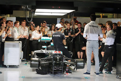 Lewis Hamilton, Mercedes AMG F1; Toto Wolff, Mercedes AMG F1 Shareholder and Executive Director; Nic