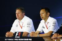 FIA-Pressekonferenz: Zak Brown, Geschäftsführer, McLaren Technology Group, Yusuke Hasegawa, Geschäftsführer, Honda