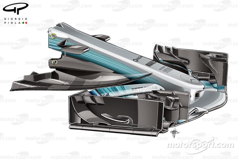 Mercedes F1 W08: Nase mit Schaufel, GP Spanien