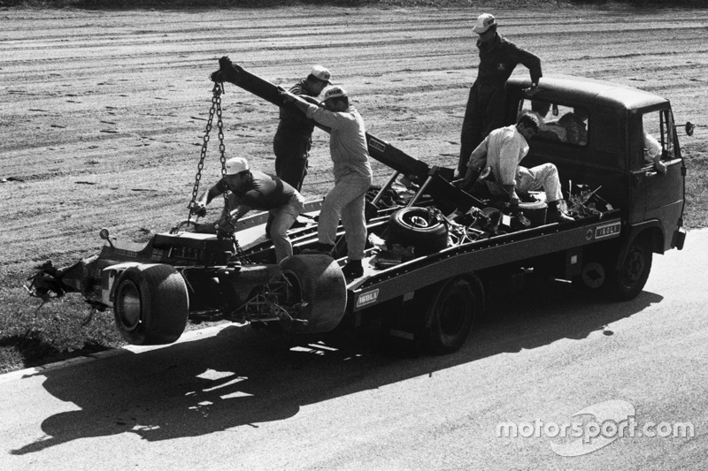 The wreckage of Jochen Rindt's car after his fatal crash at Parabolica