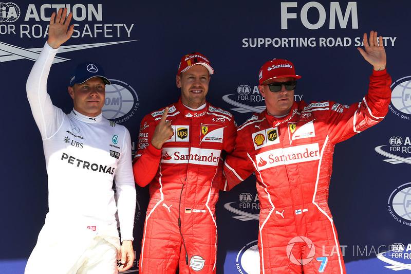 Conferenza stampa: il poleman Sebastian Vettel, Ferrari, il secondo qualificato Kimi Raikkonen, Ferrari, il terzo qualificato Valtteri Bottas, Mercedes-Benz F1