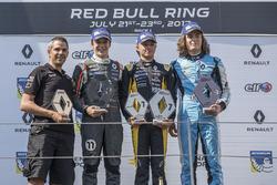 Podium: race winner Max Fewtrell, Tech 1 Racing, second place Sacha Fenestraz, Josef Kaufmann Racing, third place Max Defourny, R-ace GP