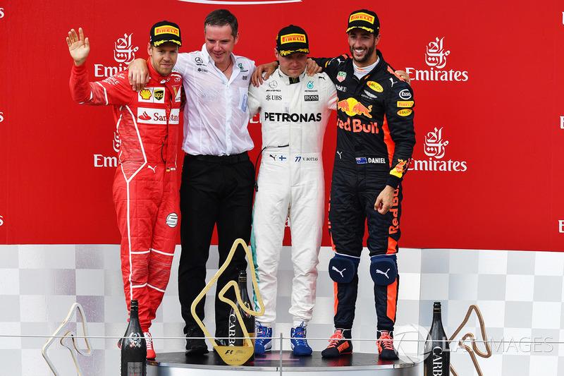 Avusturya GP, Podyum: Yarış galibi Valtteri Bottas, Mercedes AMG F1, 2.  Sebastian Vettel, Ferrari, 3. Daniel Ricciardo, Red Bull Racing