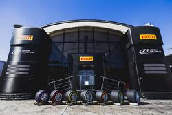 The new range of Pirelli P-Zero tyres outside the Pirelli hospitality area in the paddock