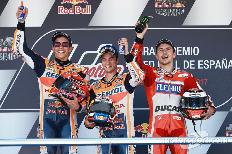 Podium 2017: Pemenang balapan, Dani Pedrosa, Repsol Honda Team, peringkat kedua, Marc Marquez, Repsol Honda Team, peringkat ketiga, Jorge Lorenzo, Ducati Team