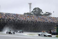 Lewis Hamilton, Mercedes AMG F1 W07 Hybrid leads behind the FIA Safety Car