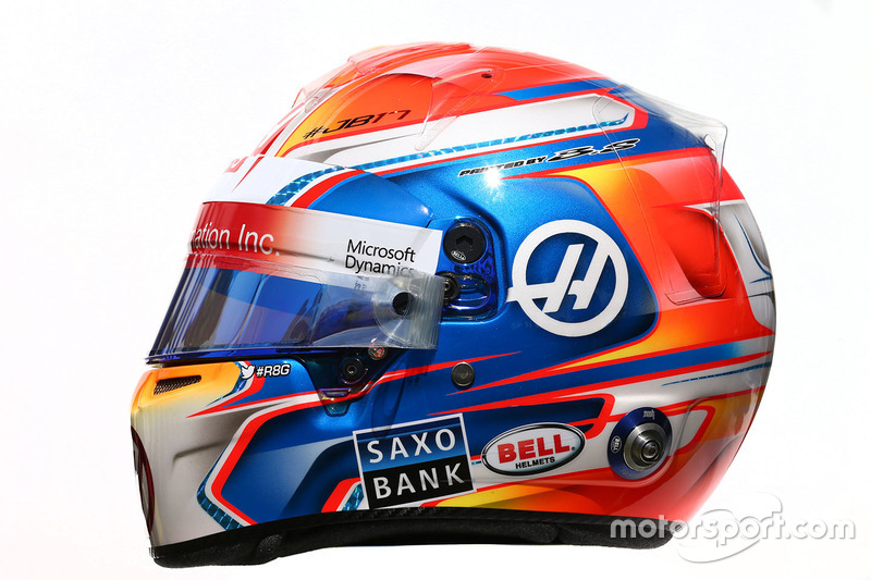 El casco de Romain Grosjean, Haas F1 Team