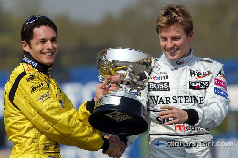 Kimi Raikkonen, McLaren to present Giancarlo Fisichella, Jordan the winners trophy