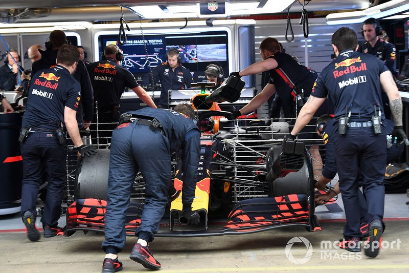 Max Verstappen, Red Bull Racing RB15 with aero sensors is pushed back into the garage