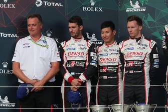 Podium: second place #7 Toyota Gazoo Racing Toyota TS050: Mike Conway, Kamui Kobayashi, Jose Maria Lopez