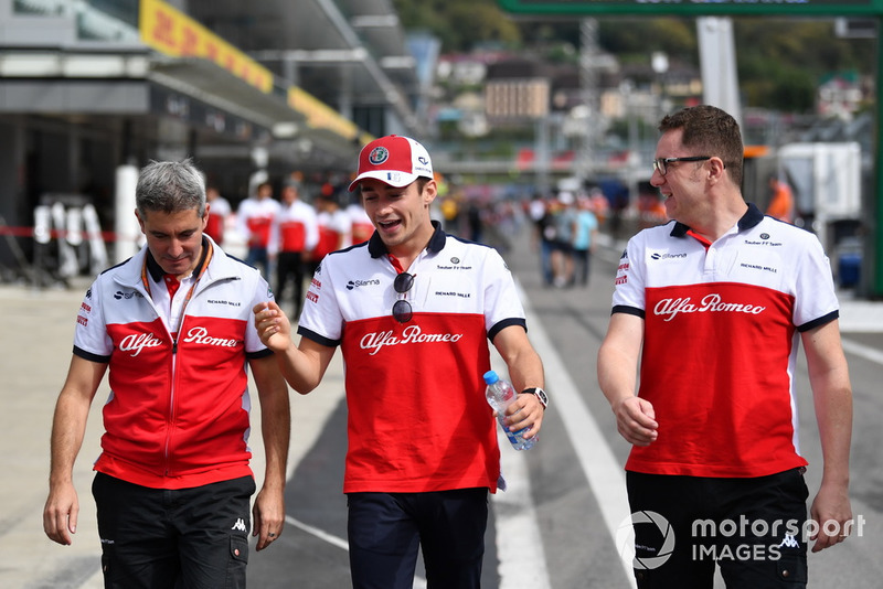 Charles Leclerc, Sauber walks the track with Xevi Pujolar, Sauber Head of Track Engineering