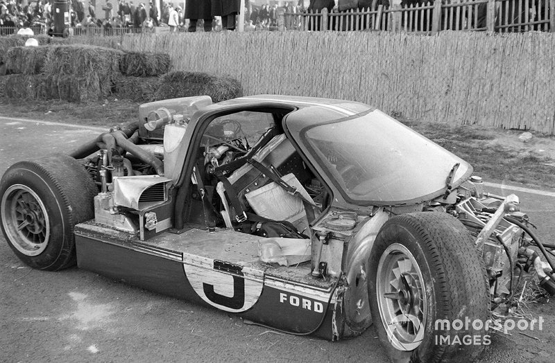 The wreckage of Mario Andretti / Lucien Bianchi's Holman Moody Racing, Ford GT40 Mk4