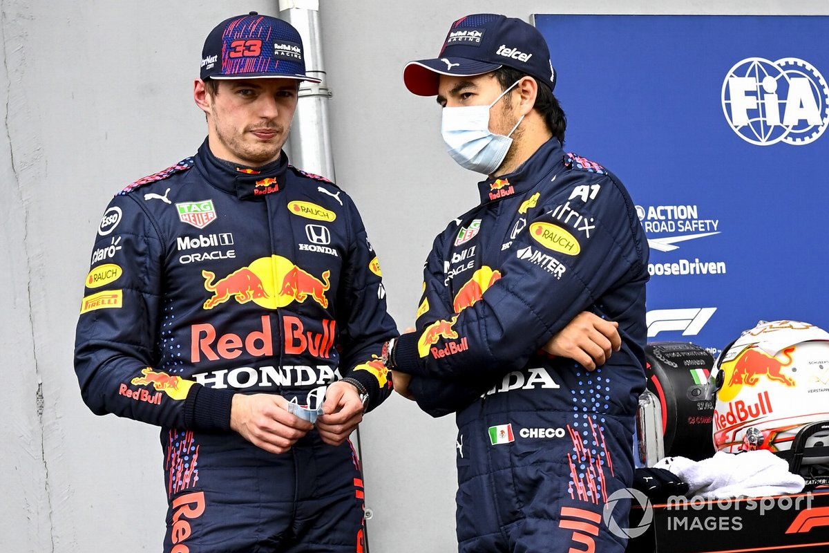 Max Verstappen, Red Bull Racing ve Sergio Perez, Red Bull Racing in Parc Ferme