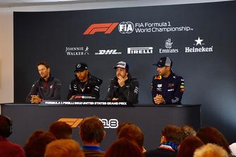 (L to R): Romain Grosjean, Haas F1 Team, Lewis Hamilton, Mercedes AMG F1, Fernando Alonso, McLaren and Daniel Ricciardo, Red Bull Racing in Press Conference