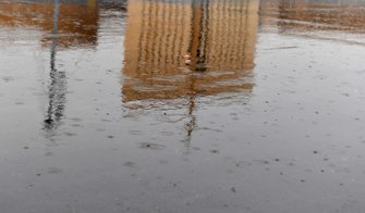 Standing water in the pit lane