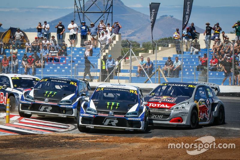 Johan Kristoffersson, PSRX Volkswagen Sweden, Petter Solberg, PSRX Volkswagen Sweden, Timmy Hansen, Team Peugeot Total Tom Banks