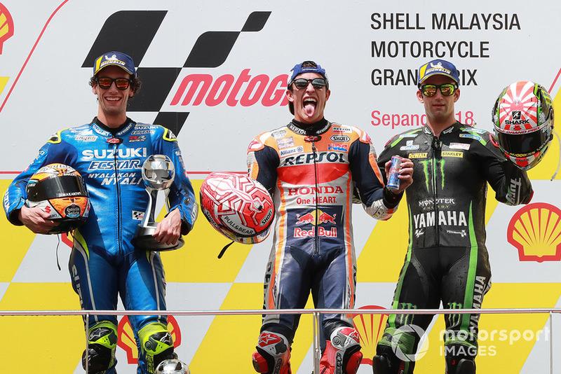 Podio: 1º Marc Marquez, Repsol Honda Team, 2º Alex Rins, Team Suzuki MotoGP, 3º Johann Zarco, Monster Yamaha Tech 3