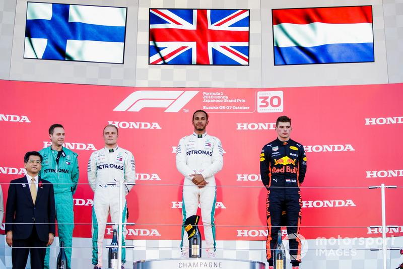Valtteri Bottas, Mercedes AMG F1, Lewis Hamilton, Mercedes AMG F1, Max Verstappen, Red Bull Racing