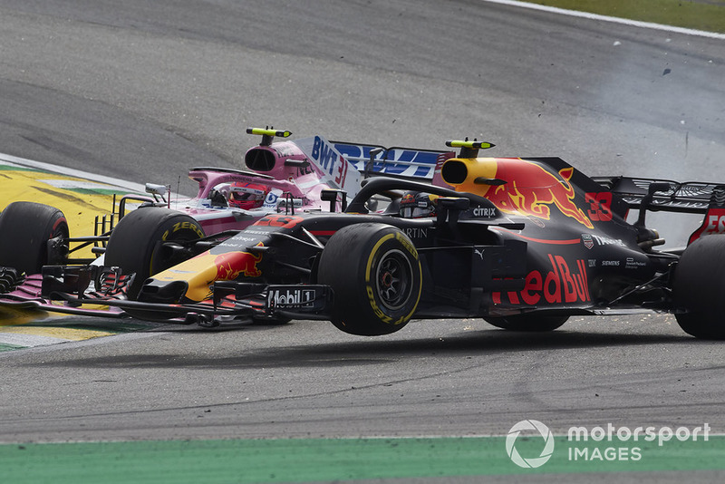 Макс Ферстаппен, Red Bull Racing RB14, Естебан Окон, Racing Point Force India VJM11