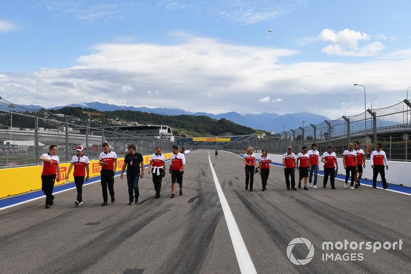 Charles Leclerc, Sauber, Antonio Giovinazzi, Sauber and Marcus Ericsson, Sauber walk the track