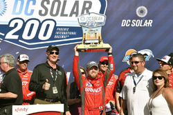 Justin Allgaier, JR Motorsports Chevrolet celebrates his win in Victory Lane