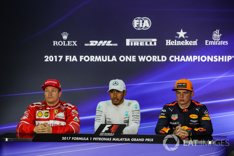 Kimi Raikkonen, Ferrari, Lewis Hamilton, Mercedes AMG F1 and Max Verstappen, Red Bull Racing in the Press Conference