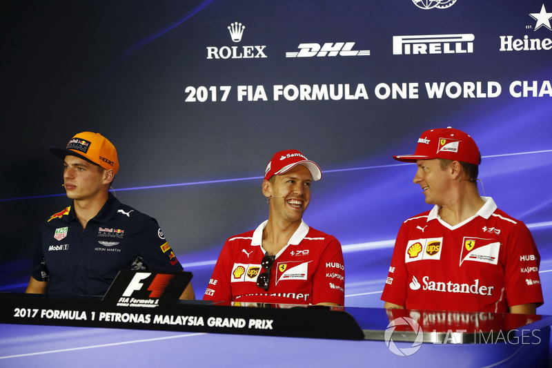 Max Verstappen, Red Bull Racing, Sebastian Vettel, Ferrari, Kimi Raikkonen, Ferrari, in the FIA press conference